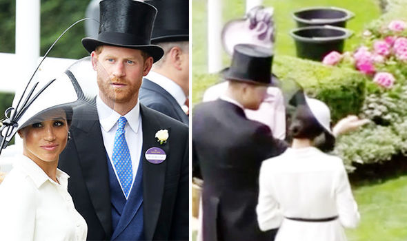 Meghan Markle was helped by Prince Harry at the Royal Ascot races Photo (C) GETTY, TIV