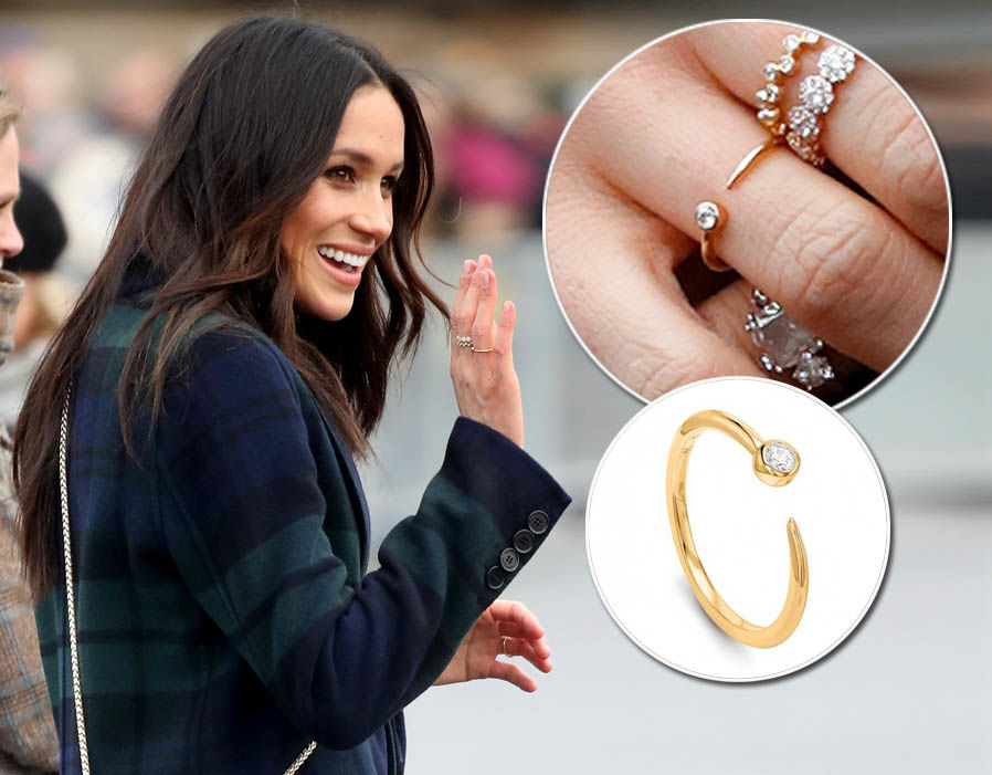 Meghan Markle wears Gold Vermeil Round Pave Star Cosmic Ring form Missoma - £45 Photo (C) GETTY