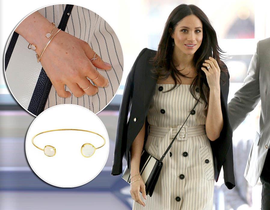 Meghan Markle wears a Circle stone bracelet from TAL jewellery - £48 PHoto (C) GETTY