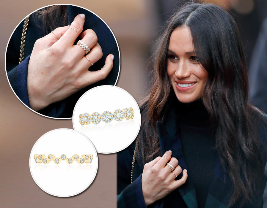 Meghan Markle wears a Diamond snowflake ring - £2,858 & Yellow Gold Splash Ring - £855 both from Birks Photo (C) GETTY