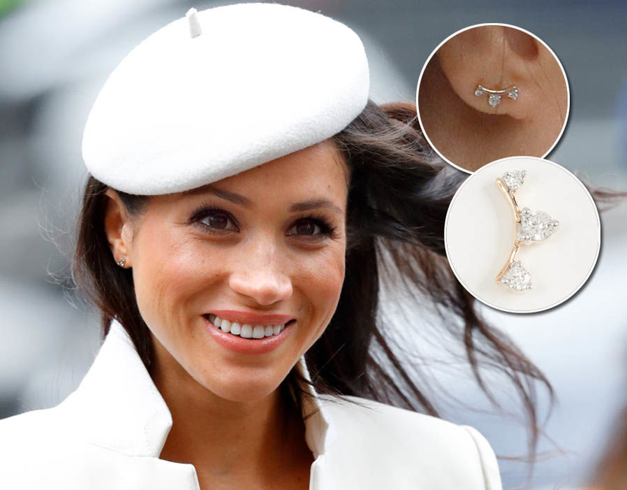 Meghan Markle wears a pair of Adina Reyter Three Diamond Amigo Curve Post Earring - £366 Photo (C) GETTY