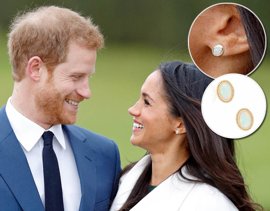 Meghan Markle wears a pair of Les Plaisirs de Birks Yellow Gold and Opal earrings - £570 Photo (C) GETTY