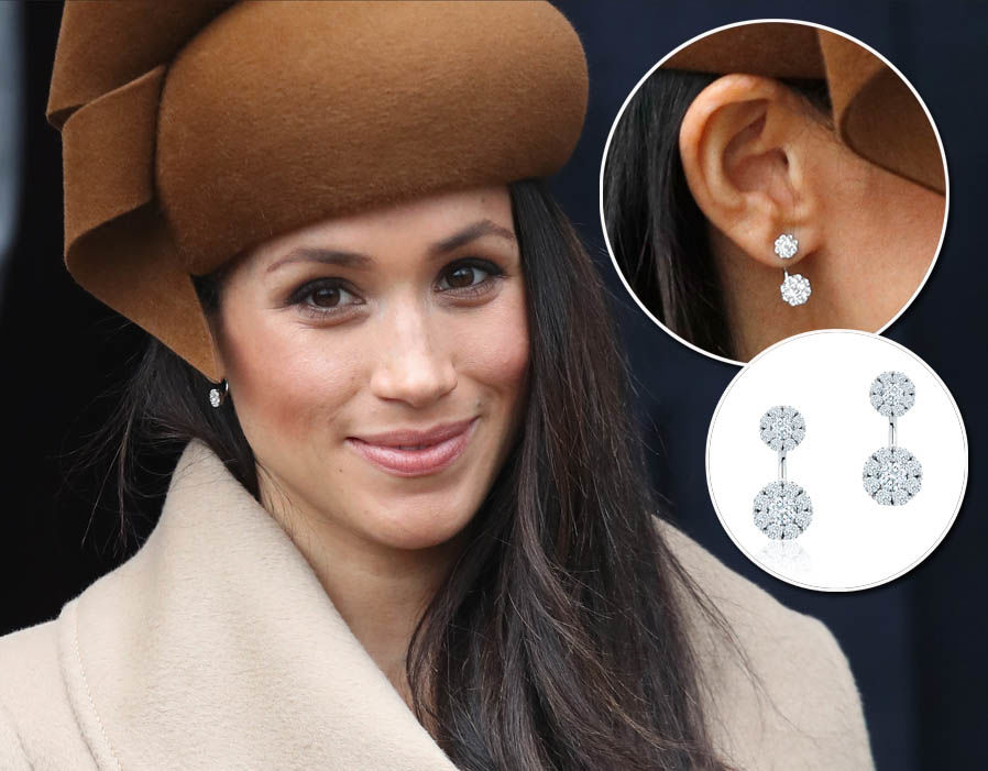Meghan Markle wears a pair of Snowflake Large Round Jacket Earring - £3,431 Photo (C) GETTY