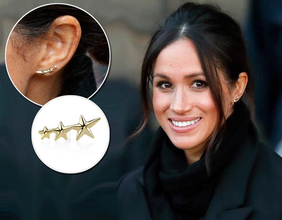 Meghan Markle wears a pair of Triple shooting star earrings from Gabriela Artigas - £250 Photo (C) GETTY