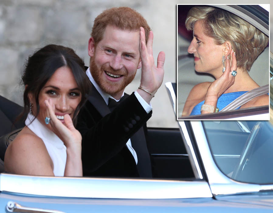 Meghan Markle wore Princess Diana's Asprey Aquamarine ring to her evening wedding reception Photo (C) GETTY