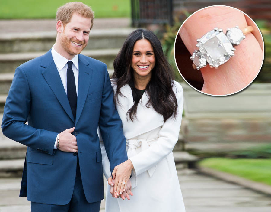 Meghan Markles bespoke engagement ring includes diamonds from Botswana and Princess Diana's collection Photo (C) GETTY