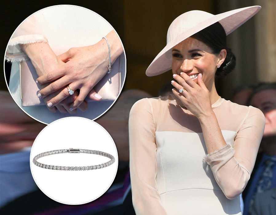 Meghan Markle's garden party bracelet closely resembles a Cartier white gold and diamond bracelet - £17,700 Photo (C) GETTY