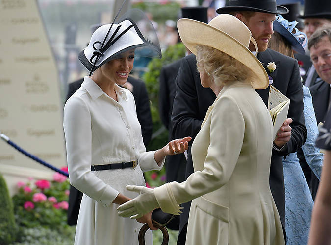 Meghan chats to the Duchess of Cornwall at Ascot. Photo (C) Getty Images