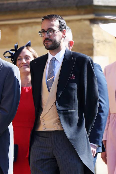 Miguel Head, Prince William's private secretary, arrives at Windsor Castle for the wedding of Prince Harry to Meghan Markle.