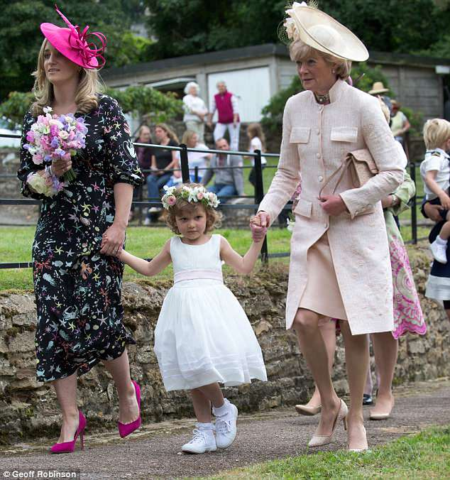 Mother-of-the-bride Lady Sarah McCorquodale, right, sister of Princess Diana at the wedding