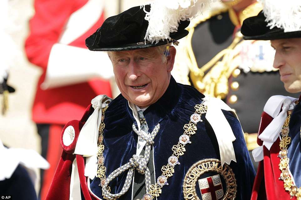 Prince Charles, in his role as a Royal Knight Companion of the Garter and Prince William, whose role is a Knight Companion