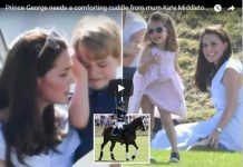 Prince George needs a comforting cuddle from mum Kate Middleton as Wills plays charity polo