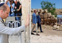 Prince WIlliam admired a picture of his wife as a child playing in the same spot in Jordan Photo (C) GETTY