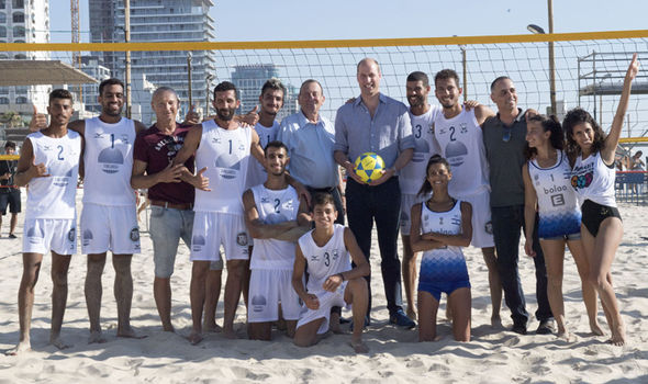 Prince William was greeted on the beach in Tel Aviv Photo (C) GETTY
