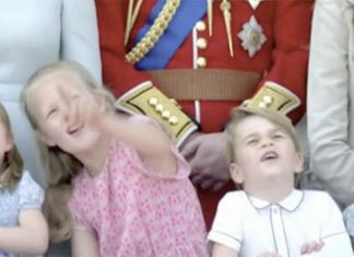 Princess Charlotte and Prince George watch the flypast with their cousins Photo (C) BBC