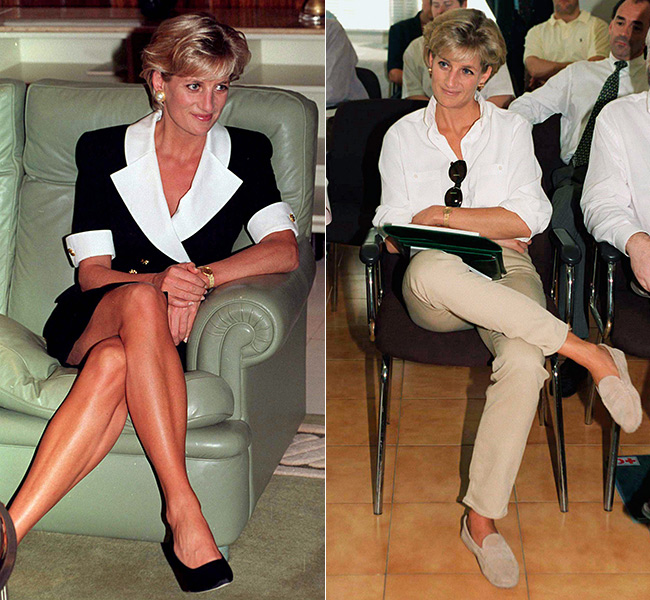 Princess Diana sometimes opted for a more relaxed position Photo (C) GETTY