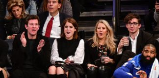 Princess Eugenie wedding Ellie Goulding with Eugenie at a Madison Square Garden basketball match Photo C GETTY
