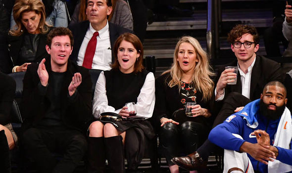 Princess Eugenie wedding Ellie Goulding with Eugenie at a Madison Square Garden basketball match Photo (C) GETTY
