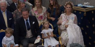 Princess Madeleine of Sweden's baby daughter Princess Adrienne is christened Photo (C) STV1
