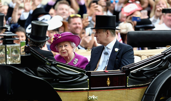 Queen Elizabeth II and Prince Andrew arrive in the Royal Procession on day 5 of Royal Ascot 2017 Photo (C) GETTY