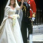 Sarahs dress was made of ivory duchesse satin and featured a 17 foot long train Photo C GETTY