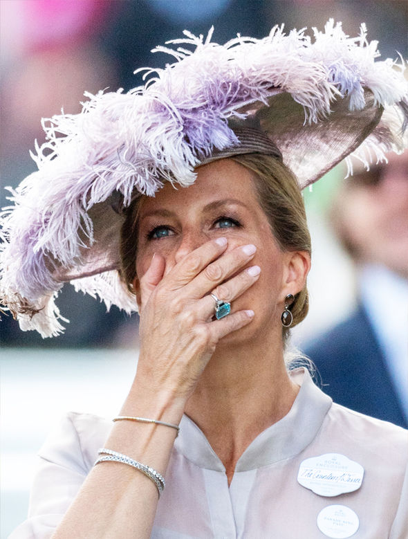 Sophie Countess of Wessex Saucer hat was covered in pretty pink feathers Photo (C) GETTY