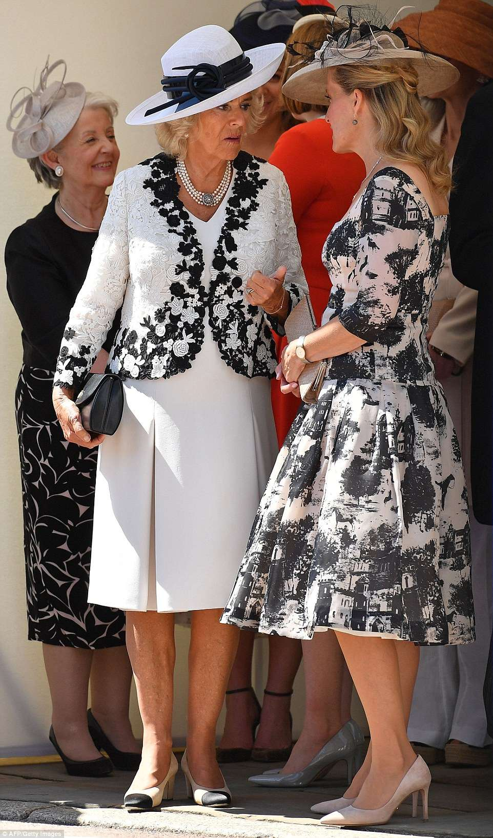 The Duchess of Cornwall (left) and Sophie, Countess of Wessex, (right) looked resplendent in their A-line dresses and bespoke hats