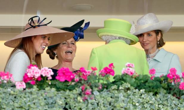 The Queen and Sarah Ferguson laugh and joke together at Royal Ascot Photo (C) GETTY