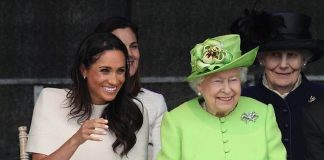 The Queen looked in great spirits as she began her day out with Harry's new wife and the pair showed their lighthearted bond