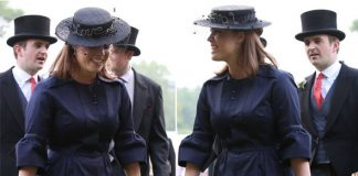 The bride to be opted for a simplistic navy ensemble complete with boat style hat Photo C GETTY IMAGES