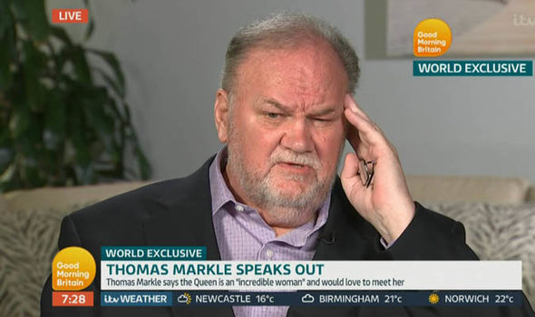 Thomas Markle tells his side of the story on Good Morning Britain Photo (C) ITV