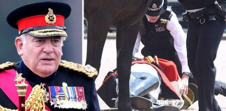 Trooping of the Colour 79 year old Lord Guthrie was thrown from his horse Photo C GETTY REX