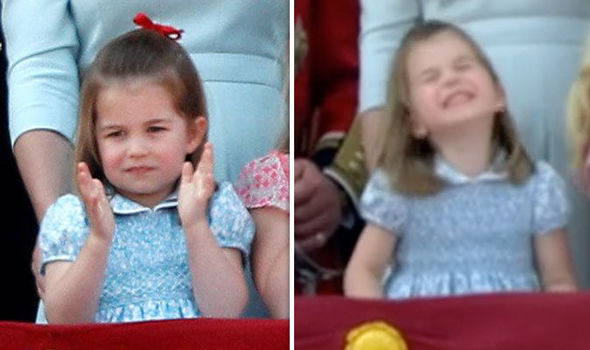 William and Kate's daughter Princess Charlotte tapped her fingers in time with the National Anthem Photo (C) GETTY, REUTERS