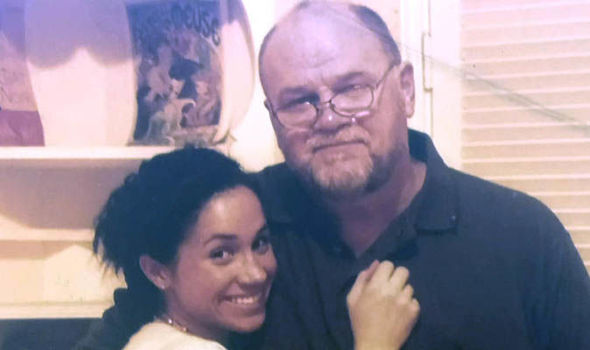 Young Meghan with dad Thomas, who watched the wedding on TV Photo (C) ENTERPRISE NEWS