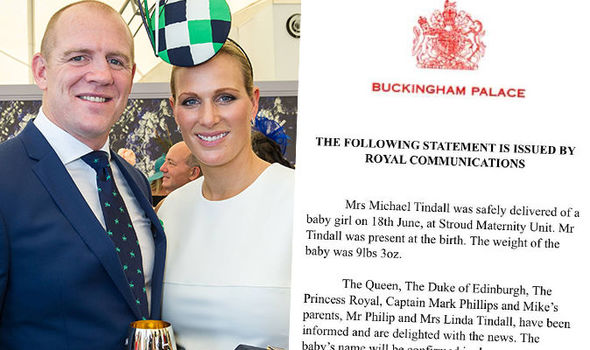 Zara Tindall's birth of her second child has sparked a sexism row Photo (C) MARC GRIMWADEBUCKINGHAM PALACE