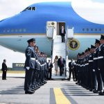 7 President of the United States Donald Trump, 72, and First Lady Melania Trump, 47, touched down at Stansted Airport yesterday to begin a three-day tour of the UK. Photo (C) REUTERS, GETTY IMAGES