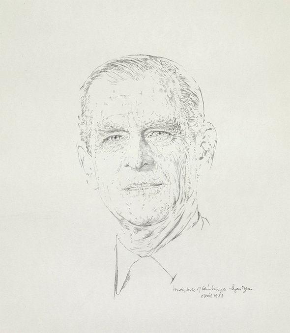 A pencil sketch of Prince Philip by Bryan Organ photo (C) PA