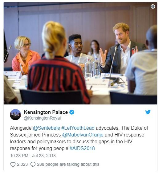 Alongside @Sentebale #LetYouthLead advocates, The Duke of Sussex joined Princess @MabelvanOranje and HIV Photo (C) KENSINGTON PALACE