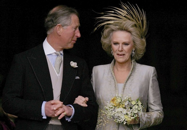 Britain's Prince Charles and his bride Camilla, Duchess of Cornwall leave St. George's Chapel in Windsor following the church blessing of their civil wedding ceremony, 09 April 2005 Photo C() GETTY