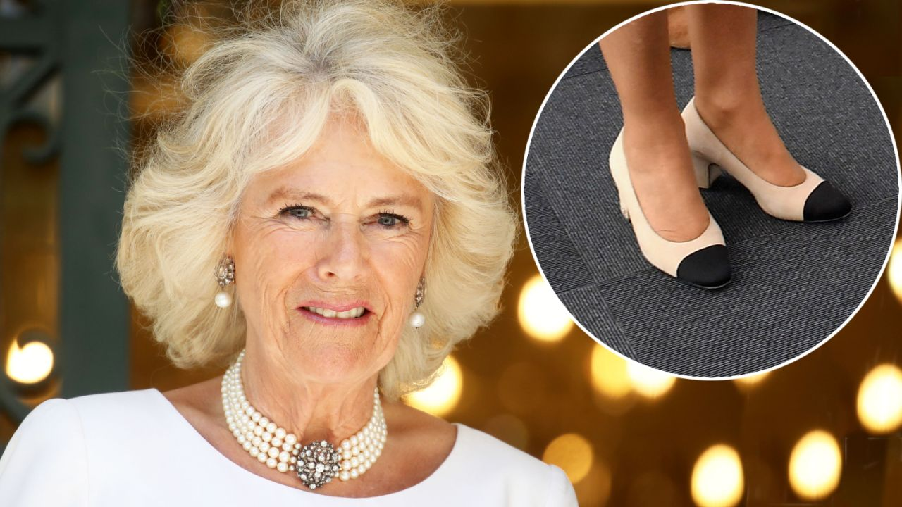 Camilla, Duchess of Cornwall loves her cream pumps with a black toe but there is a deeper reason why. Source Getty