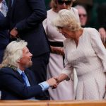 Camilla shakes Richard Branson's hand on men's quarter-finals day at Wimbledon Photo (C) REUTERS