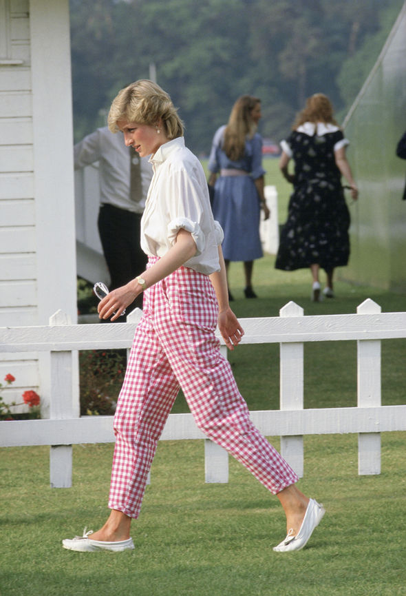 Diana favoured gingham, especially her pink trousers which she wore to the polo Photo (C) GETTY IMAGES