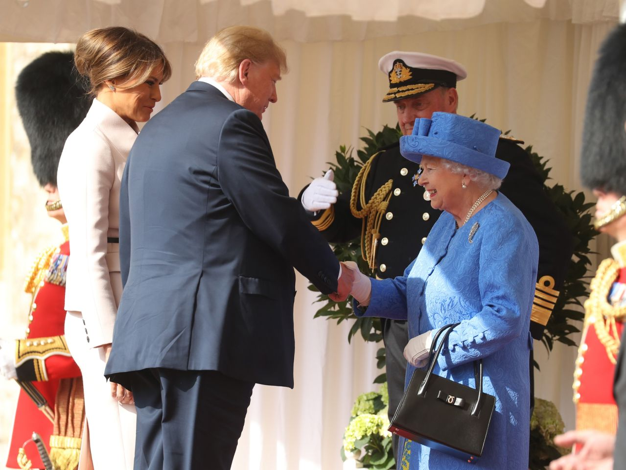 Donald and Melania Trump met Queen Elizabeth for the first time. (Photo Getty Images)