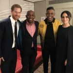 Donel Mangena (second from right) with Prince Harry (left) his father Nkosana and Meghan Markle Photo (C) GETTY