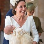 Duchess of Cambridge Kate Middleton carried a sleeping Prince Louis to his christening service [Getty