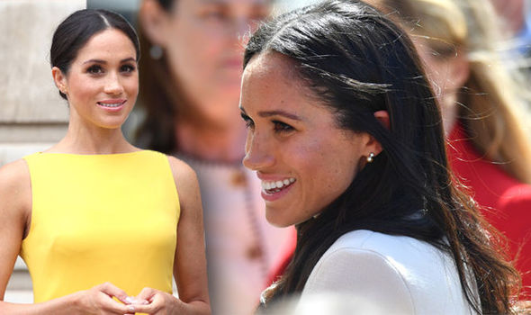 Footage appearing to show a change in Meghan's accent has gone viral Photo (C) GETTY IMAGES