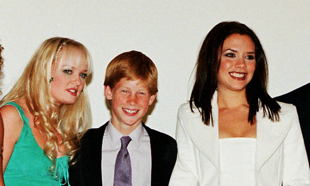 Geri Horner unearths sweet photo of a teenage Prince Harry hanging out with the Spice Girls Photo (C) GETTY