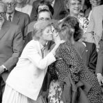 In another black and white picture, the Princess of Wales pulls the Duchess in for a warm embrace Photo (C) PA