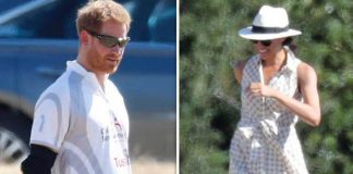 It was Harry's second match this weekend and right as Meghan relaxes