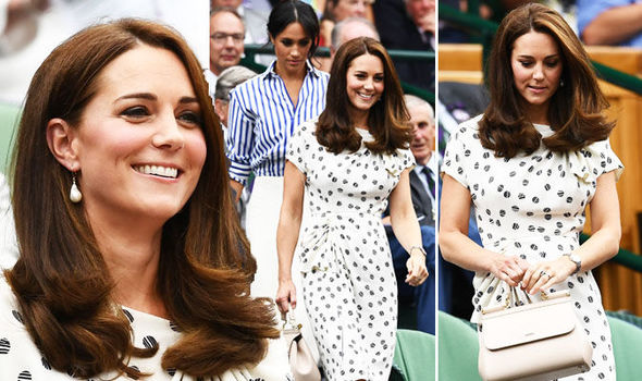 Kate Middleton She wore a white tea dress with a tennis ball print Photo (C) PA, GETTY